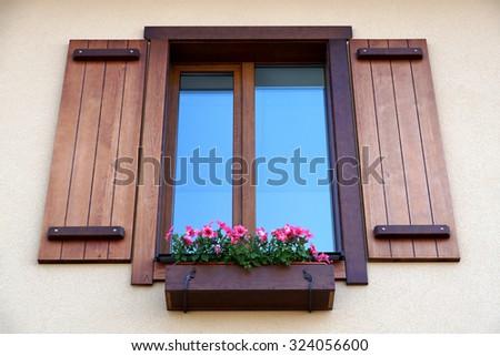 Window from outside. Casement - stock photo