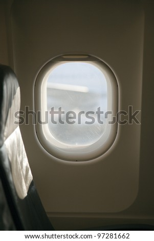 window in a airplane - stock photo