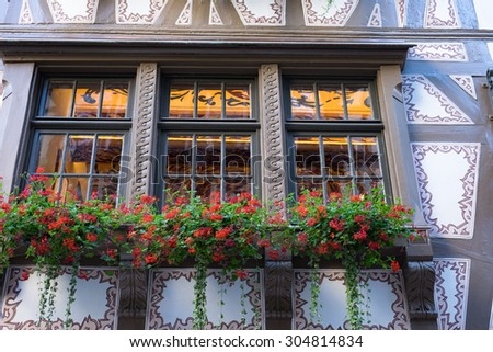 Window in downtown Strasbourg/France - stock photo