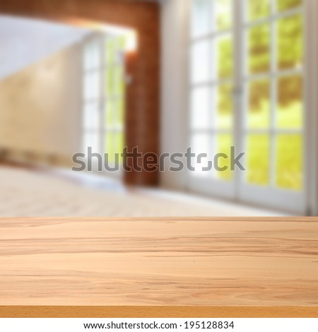 window in home and desk of yellow  - stock photo