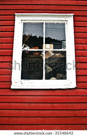 Window in old fishing stage