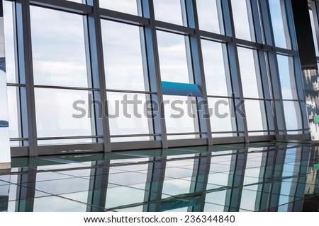 window in skyscraper , transparent modern viewing platform  - stock photo