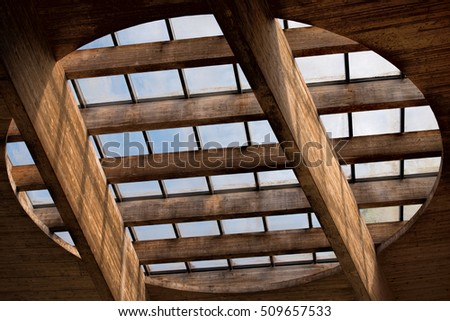window in the wooden roof