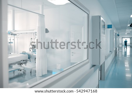 Window in ward of hospital corridor.