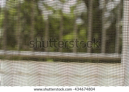 window insect net with blurry background - stock photo