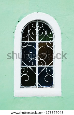Window isolated on green background - stock photo