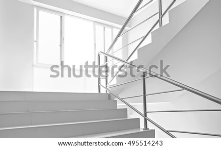 window light and stairs white background