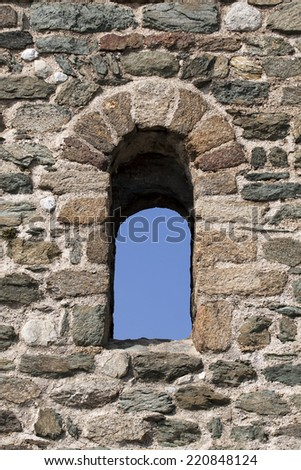 Window of a beautiful old stone monastery ruin - stock photo