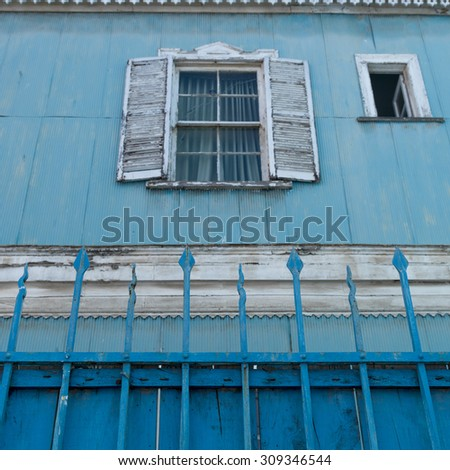 Window of a house, Valparaiso, Chile - stock photo