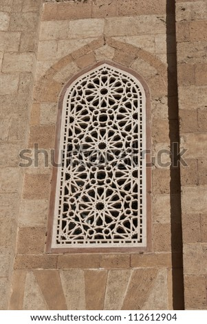 Window of a medieval mosque Cairo Egypt - stock photo