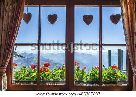 Window Of Alpine Cottage Tirol Austria View From Inside