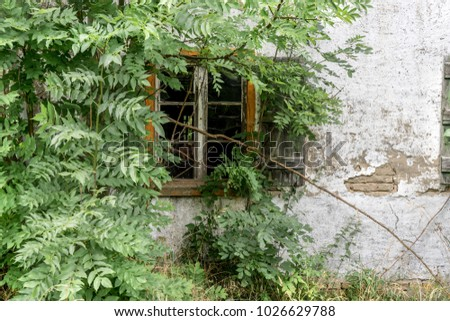 Window of an old uninhabited house in the countryside