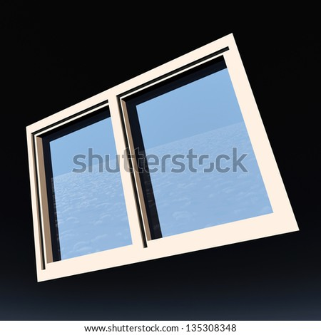 Window of opportunity  overlooking blue  sky - stock photo