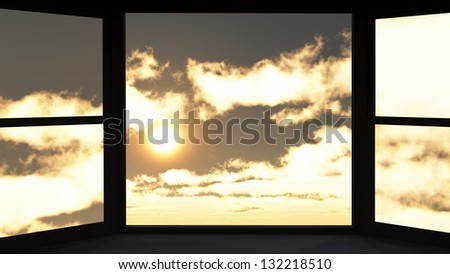 Window of opportunity  overlooking  dramatic sky - stock photo