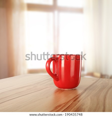 window of sunlight and mug  - stock photo