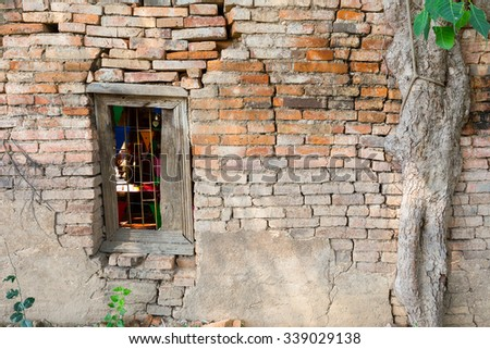 Window of the ancient temple of Thailand