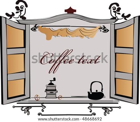 Window of the coffee house - stock photo
