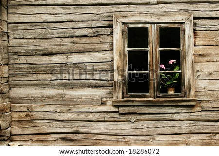 Window of the old house - stock photo