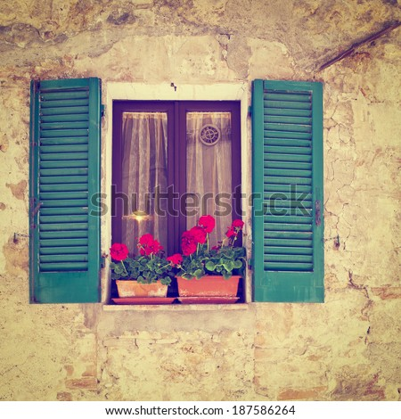 Window  of the Old Italian House, Instagram Effect - stock photo