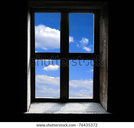Window on black background - stock photo