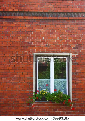 Window on brick wall.