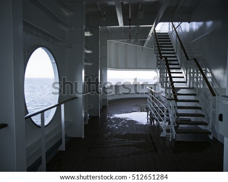 Window on cruise ship, transport and sea