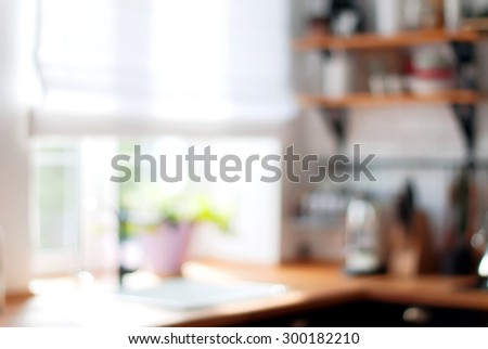 Window on Home Kitchen in Blurred Background. Rural Style - stock photo