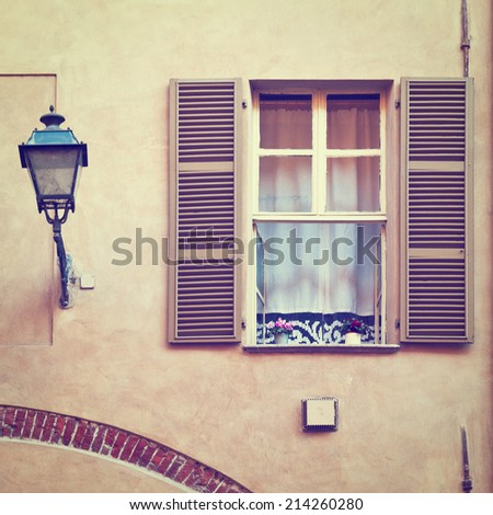 Window on the Facade of the Restored Italian Home, Instagram Effect - stock photo