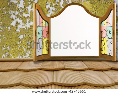 window on the old wall - stock photo
