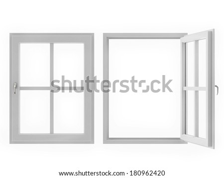 Window Open and Closed on White Background - stock photo