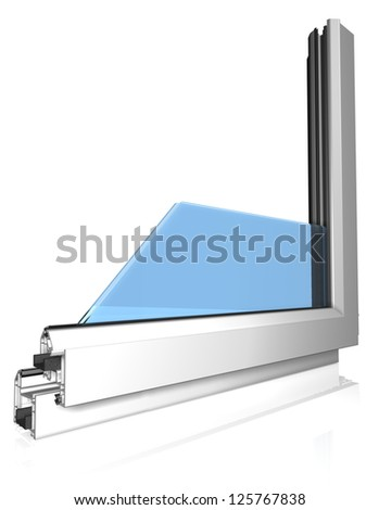 Window profile with glass on white - stock photo