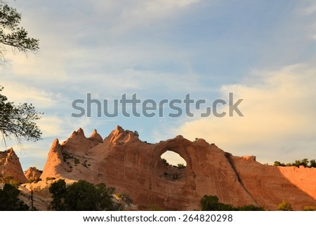 Window Rock at Window Rock,Arizona - the capitol city of the Navajo Nation. - stock photo