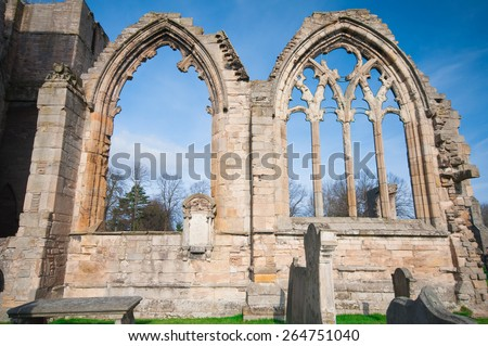 Window ruins of Elgin cathedral in Scotland. - stock photo