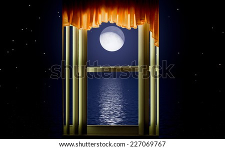 Window showing sea with moon and stars