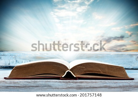window sill and book  - stock photo