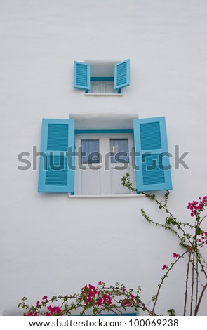 Window, the color blue. - stock photo