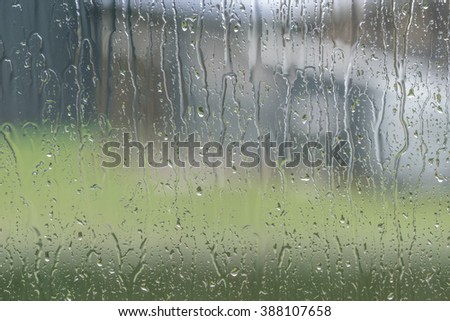 Window to a garden with raindrops on a rainy day - stock photo