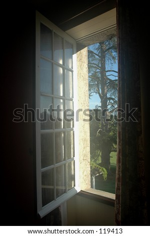 Window to the garden; an old chateau in France.