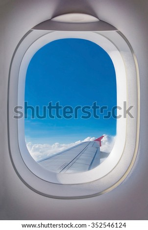 Window view form airplane - stock photo