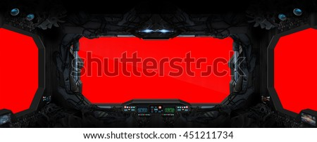 Window view from a space station in space red background '3D rendering' - stock photo