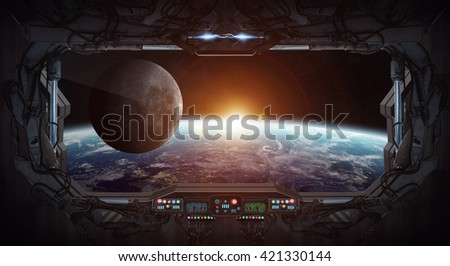Window view of planet earth from a space station '3D rendering' 'elements of this image furnished by NASA'