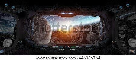 Window view of planet earth from a space station 'elements of this image furnished by NASA' 3D rendering'
