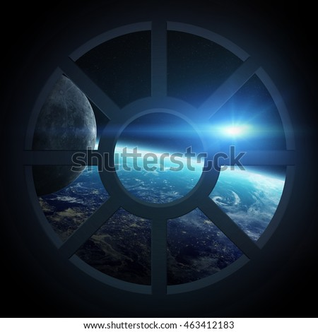 Window view of planet earth from a spaceship cabin 'elements of this image furnished by NASA' '3D rendering'