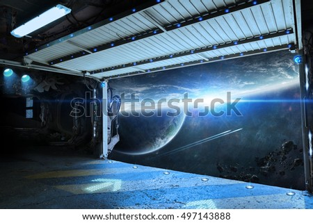 Window view of space and planets from a shuttle runway 3D rendering elements of this image furnished by NASA