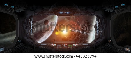 Window view of space and planets from a space station '3D rendering' 'elements of this image furnished by NASA'