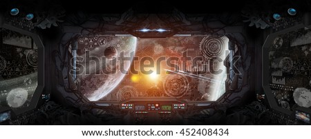 Window view of space and planets from a space station 'elements of this image furnished by NASA' '3D rendering'