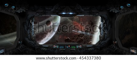 Window view of space and planets from a space station 'elements of this image furnished by NASA' '3D rendering' - stock photo