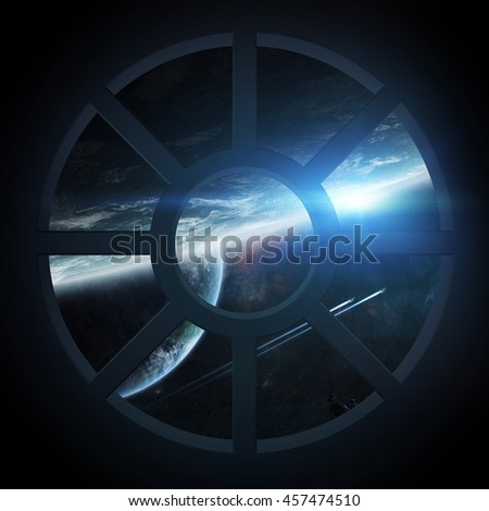 Window view of space and planets from a spaceship cabin '3D Rendering' 'elements of this image furnished by NASA' - stock photo