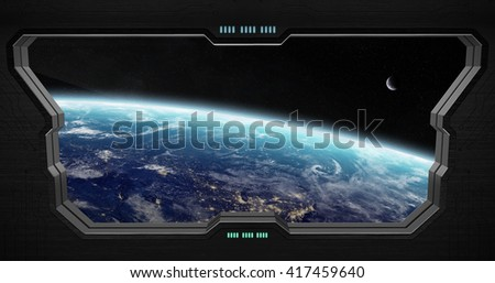 Window view of space from a space station '3D rendering' 'elements of this image furnished by NASA' - stock photo