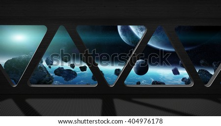 Window view of space from a space station 'elements of this image furnished by NASA' '3D rendering' - stock photo
